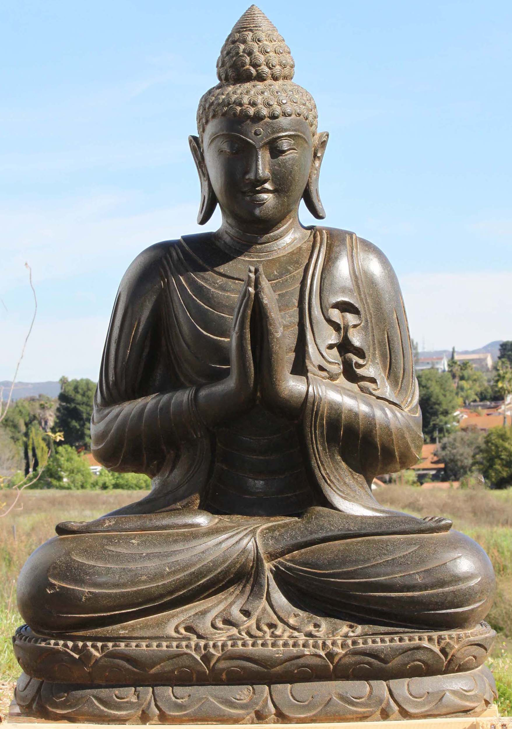 Buddhist greeting namaste topsimages sold stone anjali mudra namaste buddha statue jpg 1757x2500 buddhist greeting namaste m4hsunfo