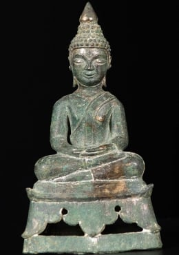 Antique 17th Century Laotian Buddha Bronze 7