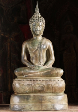 Brass Antique Green Meditating Buddha Statue 26