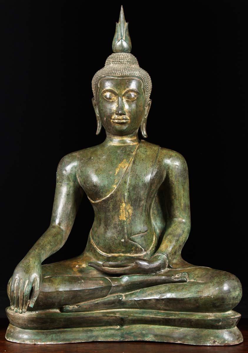 "Brass Buddha with Beautiful Antique Patina 45"" (#82t72 ..."