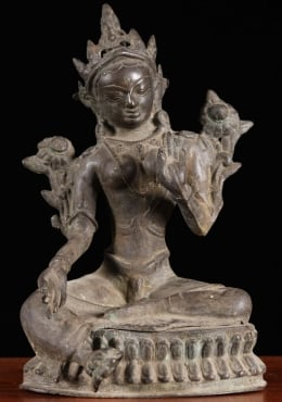 Brass Antique Green Tara Statue 11