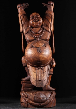 Antique Wood Fat Happy Dancing Buddha 72