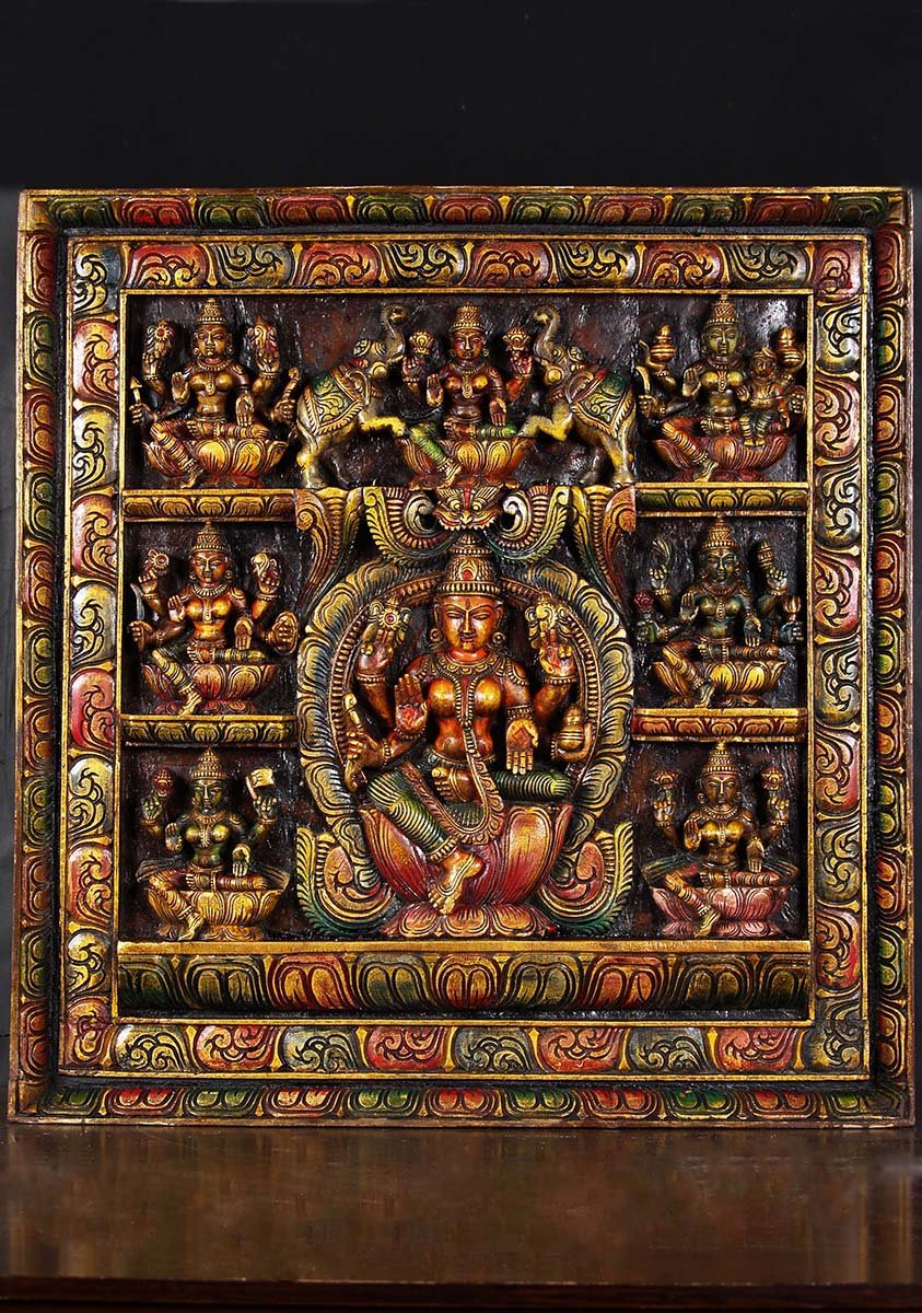 Sold Wooden Ashta Lakshmi Panel 31 Quot 76w20a Hindu Gods