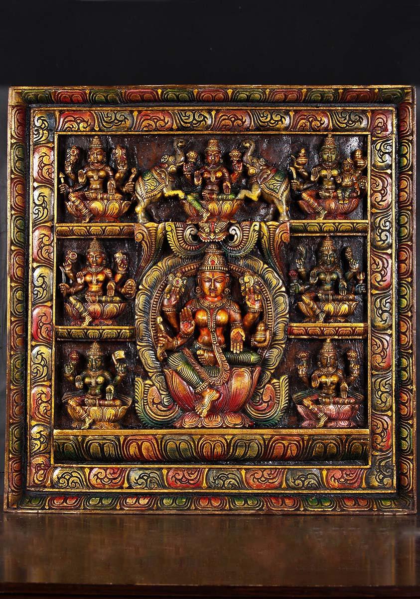 wooden ashta lakshmi panel 31 76w20a hindu gods amp buddha statues