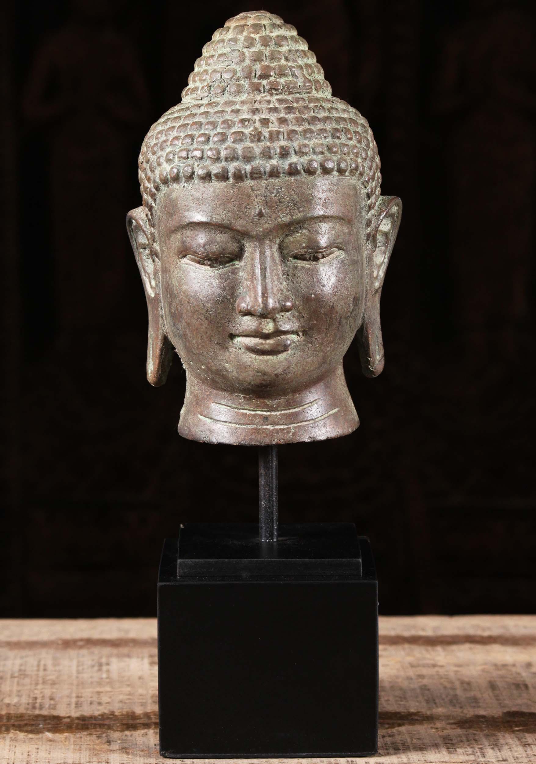 Sold Bali Brass Buddha Head On Stand 13 Quot 105bb34 Hindu