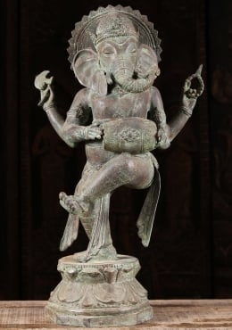 Brass Dancing Ganesh Statue Playing Drum 22