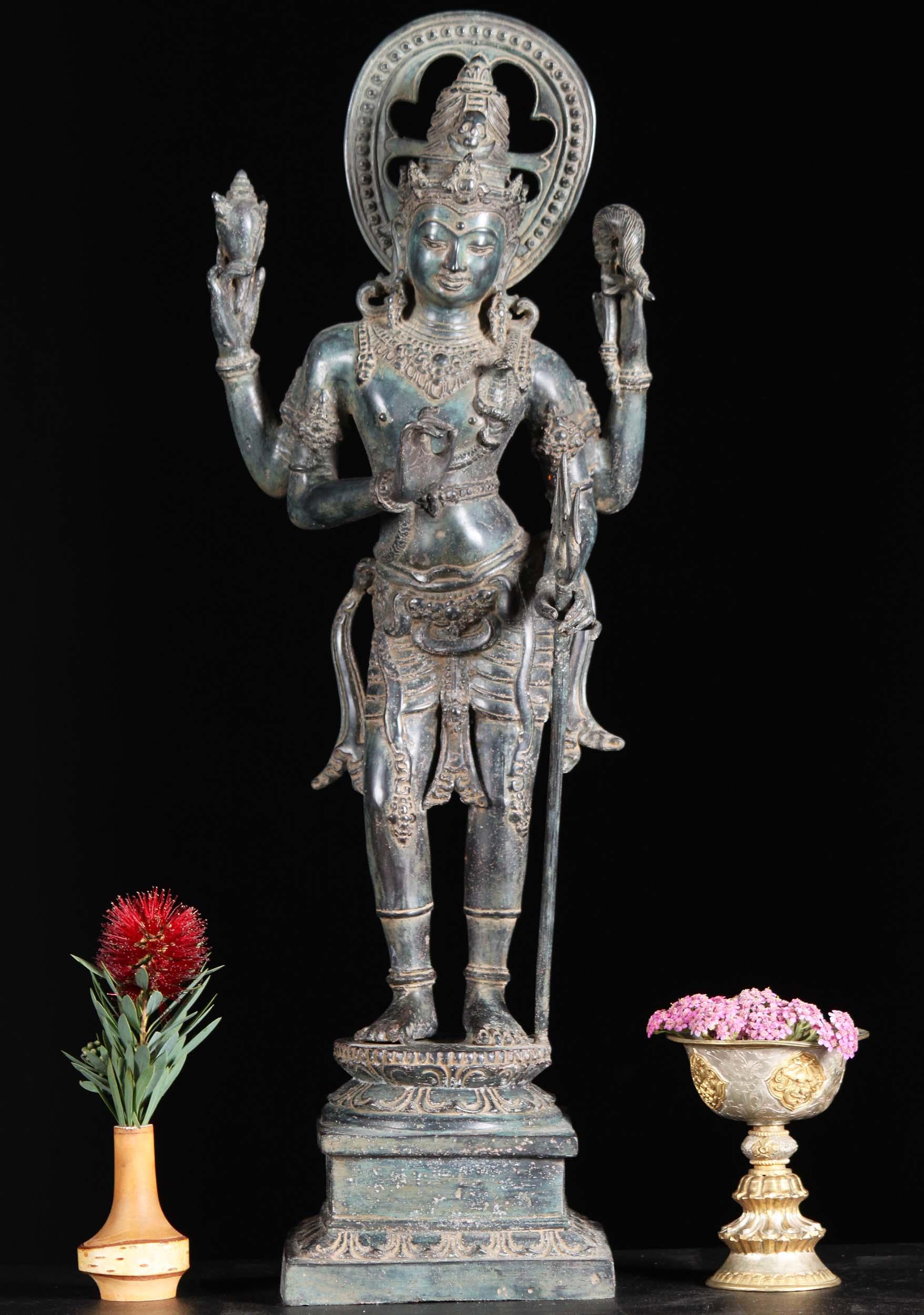sold bali brass shiva statue holding conch amp trident 23