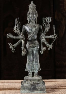Bali Brass Standing Shiva Sculpture with 12 Arms 19