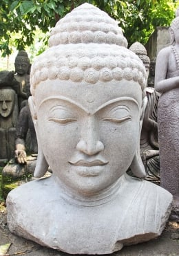 Stone Large Buddha Bust with Serene Face 55