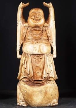 Tall Wooden Hotei Fat & Happy Buddha 59