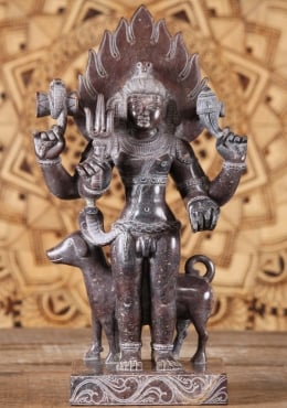 Black Marble Shiva as Lord Bhairava Statue 17