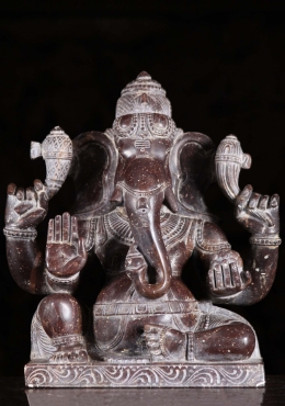 Black Marble Seated Ganesh Statue 11