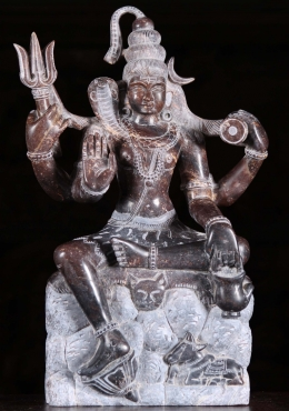 Black Marble Seated Shiva Statue with Nandi 15