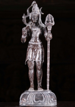 Black Marble Shiva Holding Trident Statue 16
