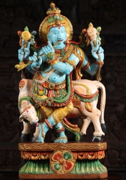 Wood Blue Gopal Krishna With Cow 30