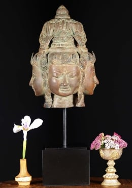 Brass Bust of Lord Brahma on Wooden Base 21