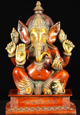 Brass Abhaya Mudra Ganesh Statue with Rat 17