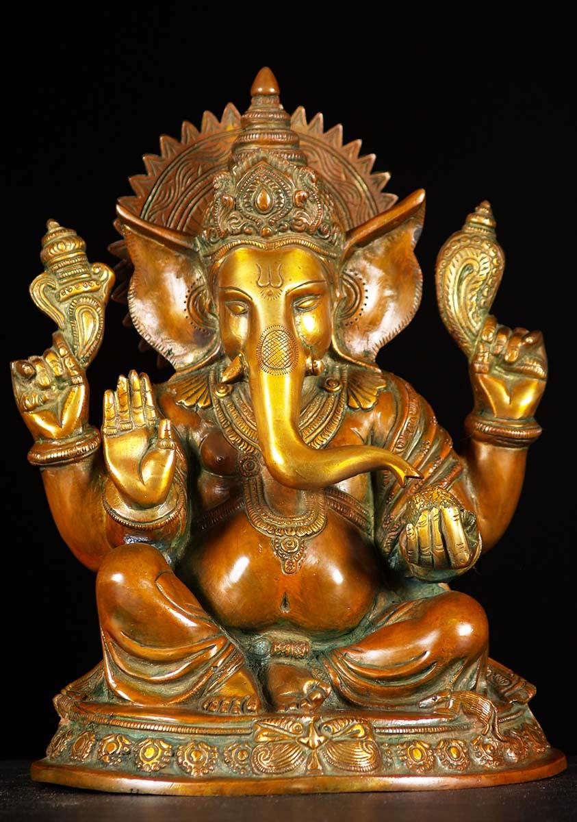 Brass Seated Abhaya Ganesh Statue 12 Quot 61bs3z Hindu