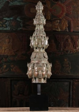 Brass Brahma Heads On Stand 36