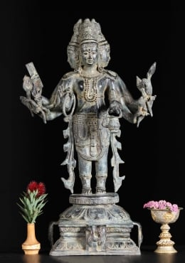 Brass 4 Faced, 8 Armed Brahma Sculpture 24