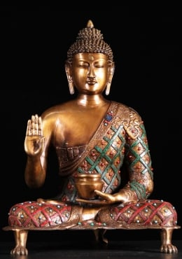 Brass Buddha with Alms Bowl & Lion Foot Base 26