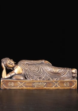 Brass Reclining Buddha Sculpture on Base 12.5