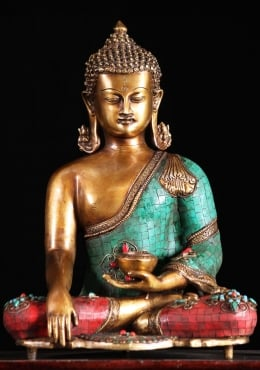 Brass Earth Touching Buddha With Stones 16