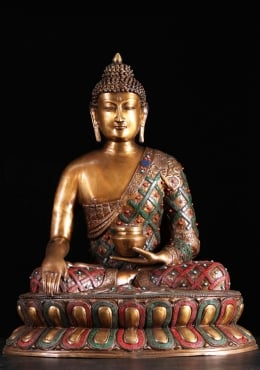 Brass Alms Bowl Buddha Statue with Stones 28