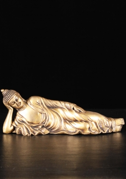 Brass Reclining Buddha Sculpture 11.5