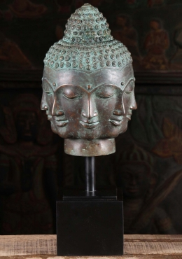 Brass Buddha Bust with 8 Faces 24
