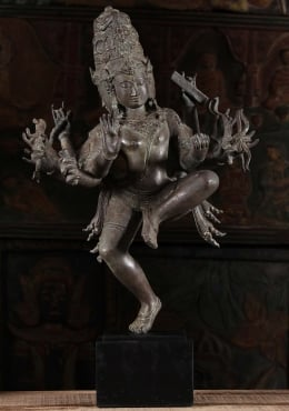 Brass Dancing Dattatreya Statue with 10 Arms 25