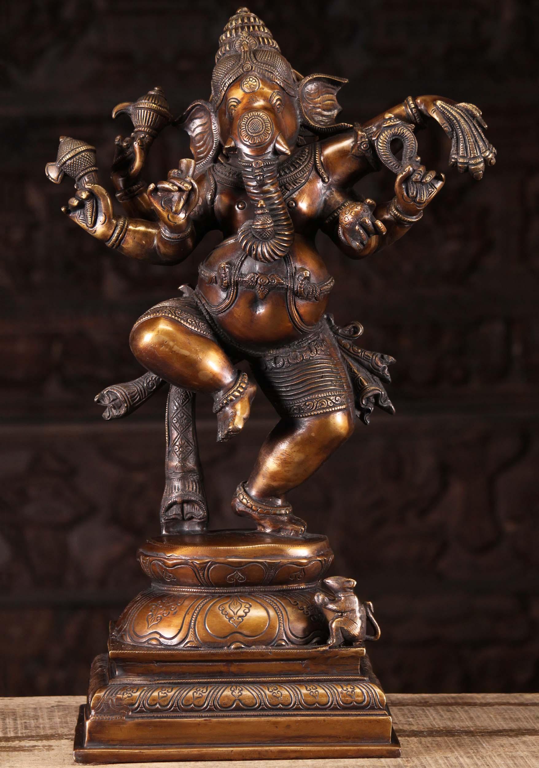Brass Dancing Ganesha Statue With 6 Arms 23 110bs125 Hindu Gods Buddha Statues