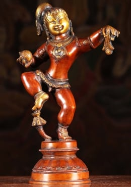 Brass Dancing Bala Krishna Holding Butter Ball 11