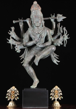Brass 10 Armed Shiva Statue Holding Trident 25