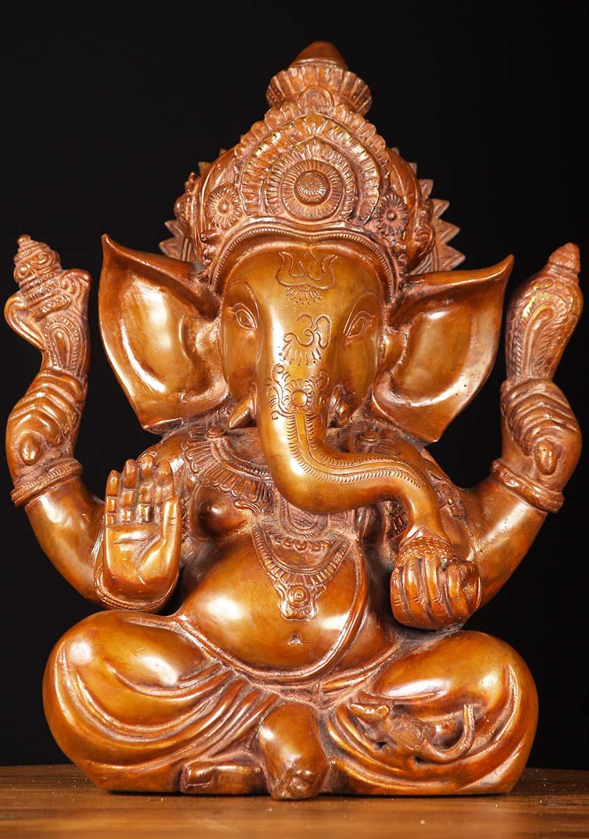 Brass Seated Abhaya Mudra Ganapathi 12 61bs4z Hindu Gods
