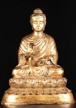 Brass Antique Gold Leaf Gandhara Buddha 27