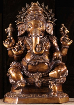 Brass Ganesh Large Seated Statue 32