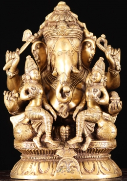 Brass Ganesh with Sri Devi & Bhodevi Statue 12