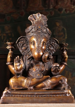 Brass Ganesh Holding 2 Lotus Flowers 19