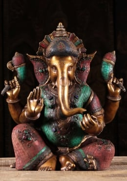 Brass Abhaya Ganesh with Colored Stones 20