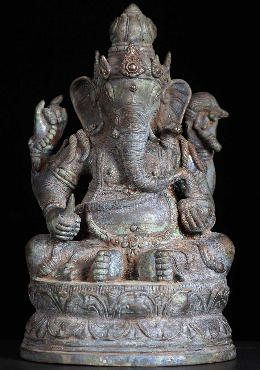 Sold Bali Brass Antiique Seated Ganesh Statue 12 Quot 81bb37