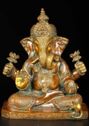 Brass Ganesh With 2 Lotus Flowers 9