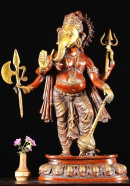 Brass Ganesh Statue Holding Large Weapons 19