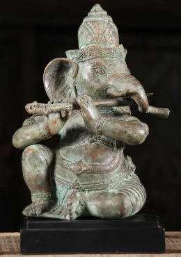Brass Ganesha Playing The Flute Statue 10