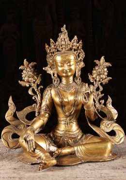 Brass Green Tara Statue Wearing Flowing Robes 18
