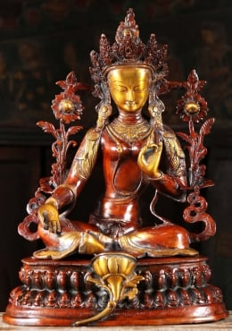Brass Beautiful Green Tara Sculpture 18