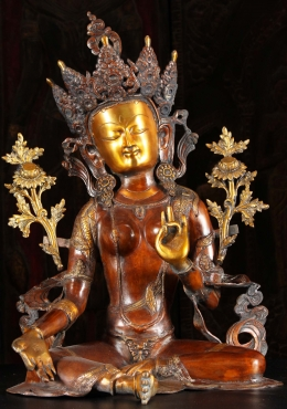Brass Green Tara Statue in Teaching Mudra 27