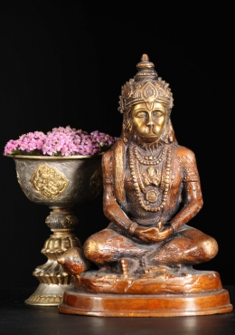 Brass Hanuman Meditating Sculpture 7