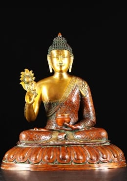 Brass Indian Buddha Statue Holding Flower 28