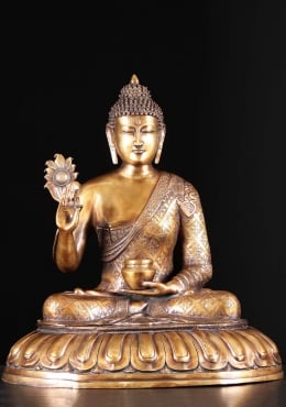 Brass India Buddha Holding Flower & Alms Bowl 28